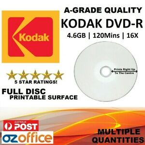 A+ Grade Quality - KODAK DVD-R Full Inkjet Printable Blank DVD Discs 4.7GB 16X