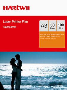 50 Sheets Transparency OHP Film Acetate Clear A3 For Laser  Copier 297x420mm AU