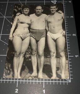 1960s Shirtless Beefcake Man Swimsuit Muscle BULGE Vintage Gay Snapshot PHOTO