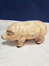 Vintage Cast Iron Pig Piggy Bank- 6 inches - Glass Eyes