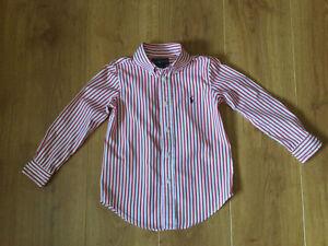 Boys Ralph Lauren Red Striped Shirt Size 4T