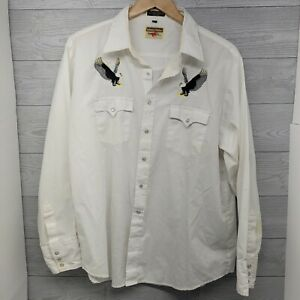 Vtg AUTHENTIC WESTERN YOUNGBLOODS Embroidered Cowboy Mens XL Pearl Snap Shirt