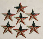 Galvanized Rustic Rusted Tin Metal Barn Stars U S  Flag Ornament 3 5  Lot of 7