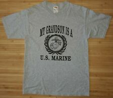 My Grandson Is A Marine Gray Men's T-Shirt Size Medium Fruit of the Loom