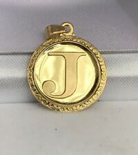 18k Solid Yellow Gold Letter Initial J Round Charm Pendant, 2.65 Grams