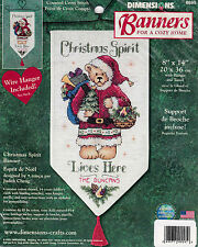 Dimensions Banners Counted Cross Stitch Kit~CHRISTMAS SPIRIT~Santa Bear~NEW~RARE