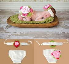 Neugeborene Baby Knit Strick Fotoshooting Rosa Blume Weiß Stirnband Höschen