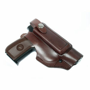 Belt Holster for Makarov, Walther PP with case for a spare magazine (brown)
