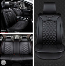 Full Set Black PU Leather Car Seat Cover Cushion Protector Four Season Universal
