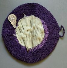 Vintage Handmade Pin Needle Sleeve Holder Case Crochet wrap around button Purple