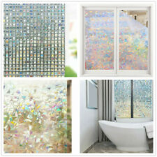 3D Frosted Privacy Glass Stickers Cover Film Non-Adhesive Window Door Decal Home