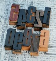 0-9 Zahlen 68mm Holzlettern Lettern Stempel Holz letterpress wood type typo alt