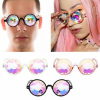 Fashion Festival Rave Kaleidoscope Round Rainbow Crystal Lens Glasses