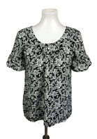 Ann Taylor LOFT Women's Size XS Floral Top Blouse Black White Short Sleeve Work