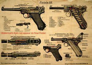 Poster Luger Pistol 08 WWI German wall art military patent print Parabellum gun