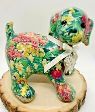 Floral Decoupage Patchwork PorcelainPuppy Dog Figurine by Joan Baker Designs