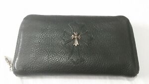 Chrome Hearts New Leather Zipper Wallet W/Silver Cross Detail Blk 100% Authentic
