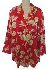 Vintage Victoria's Secret Red Yellow Rose Floral Sleep Shirt Night Gown Medium