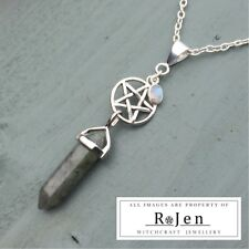 Labradorite Point & Silver Rainbow Moonstone Charm Pentagram Pendant Pagan Wicca