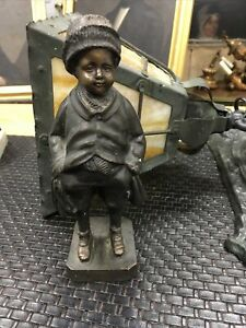 ANTIQUE BRONZE BOY STATUE FINELY DETAILED