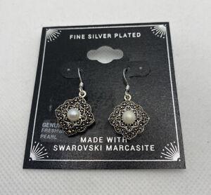 NEW Macys Fine Silver Plated Freshwater Pearl Swarovski Marcasite Earrings
