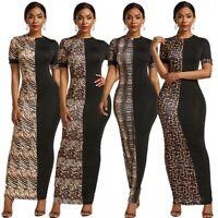 Plus Szie Women's Sexy Leopard Print Short Sleeve Ball Gown Evening Maxi Dress