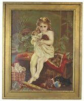 """Antique Victorian Oil Portrait Painting of a Young Girl with Cats Dogs 27"""""""