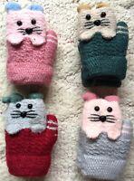 Animal Mouse Mittens Gloves 3-7 Year Kids Boy Girl Pink Green Red Gray Kid JAPAN