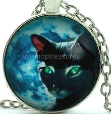 New Black Cat Green Eyes  Necklace Black Cat Pendant - Silver  bf