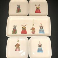 Rae Dunn by Magenta 2017 Set of 4 Christmas Dog Square Plates + Serving Platter