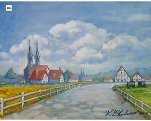 Kamen Chalakov Dutch Landscape Original Acrylic Painting on Board 11x14