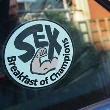 Static Cling Window Sticker Racer Car James Hunt Rush SEX BREAKFAST OF CHAMPIONS