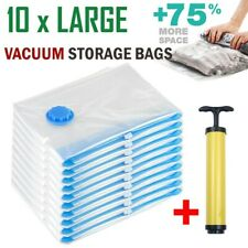 10x Large Vacuum Storage Bags Space Saver For Travel Seal Clothes Free Hand Pump