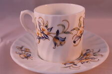 AYNSLEY JUST ORCHIDS COFFEE CAN CUP DEMI TASSE & SAUCER RETRO VINTAGE ESPRESSO