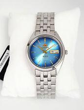 ORIENT 3 Star Automatic Watch Mens SILVER tone Blue dial FAB0000AL9 NEW