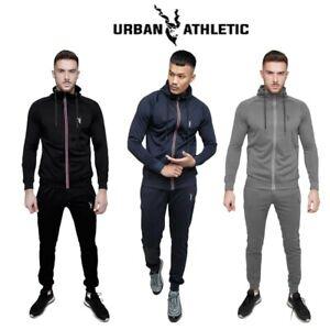 Men Hoodie Slim Fit Tracksuit Set Sport Gym Zip Muscle Sweatshirts Top Trousers