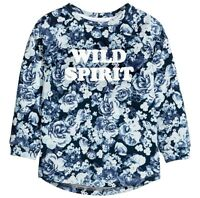 Sweat Shirt Gr.134 /140 H&M NEU 100% Baumwolle Rosen blau Pullover kinder