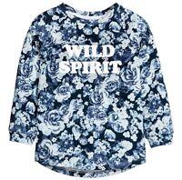 Sweat Shirt Gr.122 /128 H&M NEU m.E 100% Baumwolle Rosen blau Pullover kinder