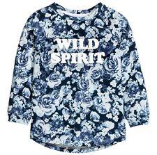 Sweat Shirt Gr.134 /140 H&M NEU m.E 100% Baumwolle Blumen blau Pullover raglan