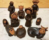 Orientalische Alte Ton Krippe Figuren Töpferei Tonarbeit Kunst Ägypten Art Ethno
