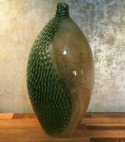 Large Bulb Shaped Ceramic Vase.Beautiful texture, green and golden. 15 inches.