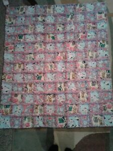 Pink and Grey Kitty Rag Quilt