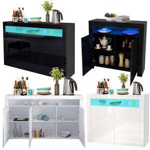 Sideboard Storage Matt Body&High Gloss 2/3 Doors Cupboard Cabinet LED Lights UK