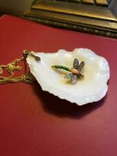 Large Antique Vintage 14k Gold Diamond Coral Dragonfly Mounted in Shell Pendant