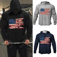 Men Fitness Chest Print American Flag Bodybuilding Raglan Gym Hoodies Sweatshirt
