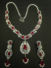 41.35 Cts Round Brilliant Cut Diamonds Ruby Necklace Earrings Set In 14K Gold