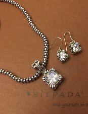 SILPADA W0975 N1106 Popcorn Necklace Uptown CZ Pendent S0979+Uptown CZ Earrings