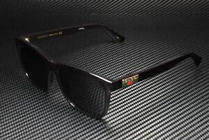 GUCCI GG0746S 001 Black Shiny Grey Square 57 mm Men's Sunglasses