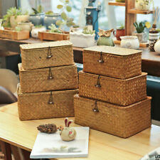 Handmade Seagrass Storage Basket Sundries Kids Toy Boxes Home Storage Decor