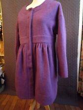 Ensemble manteau et toque laine bouillie coloris violet - fabrication artisanale
